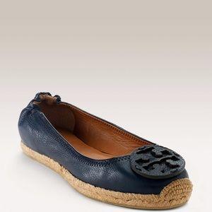 Tory Burch reva Leather espadrille flat navy blue